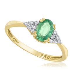 Anel com Esmeralda Oval e 12 Diamantes, em Ouro Amarelo