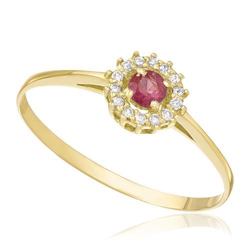 Anel com Rubi Central e 14 Diamantes, em Ouro Amarelo