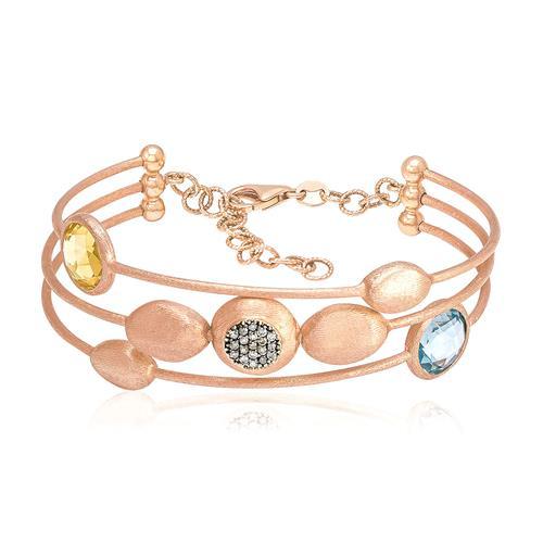 Bracelete com 25 Pts em Diamantes, em Ouro Rose