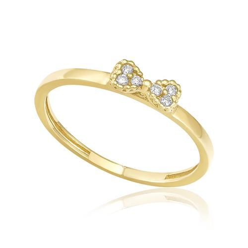 Anel de Falange modelo Laço com 6 Diamantes, em Ouro Amarelo (ARO 9)