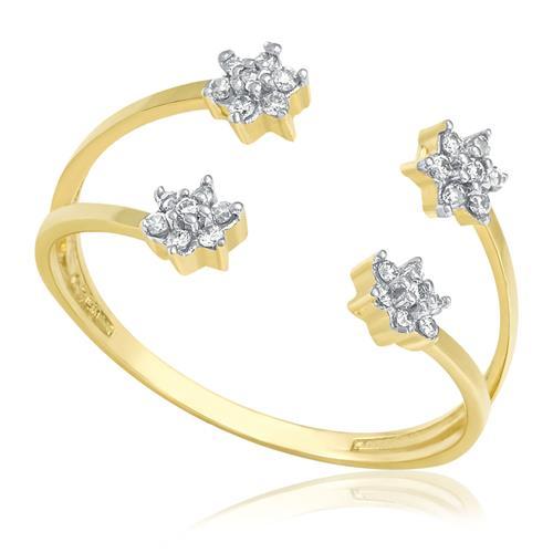 Anel Aro Aberto com 28 Diamantes totalizando 15 Pts, em Ouro Amarelo