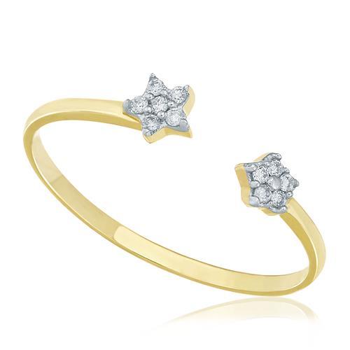 Anel Estrelas com Diamantes totalizando 10 Pts, em Ouro Amarelo
