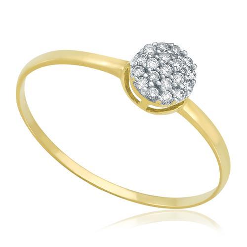 Anel Chuveiro com 19 Diamantes totalizando 20 Pts, em Ouro Amarelo
