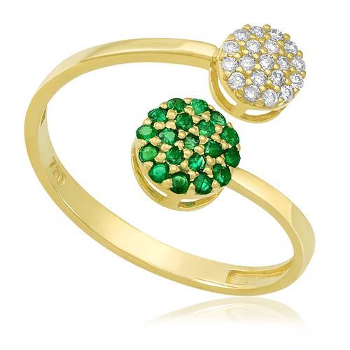 Anel com 19 Diamantes e 19 Esmeraldas, em Ouro Amarelo