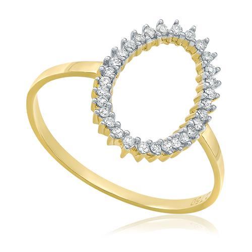Anel Oval Vazado com Diamantes totalizando 20 Pts, em Ouro Amarelo