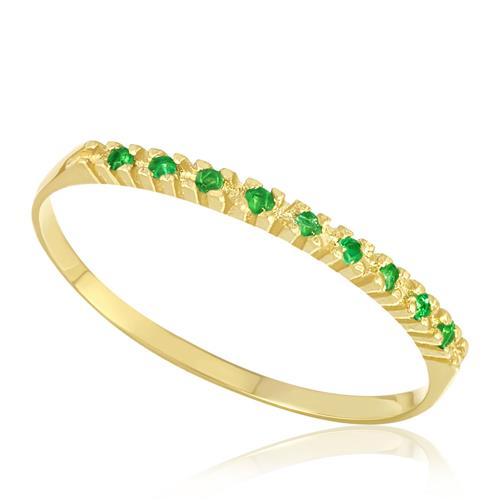 Meia Aliança com 9 Esmeraldas, em Ouro Amarelo
