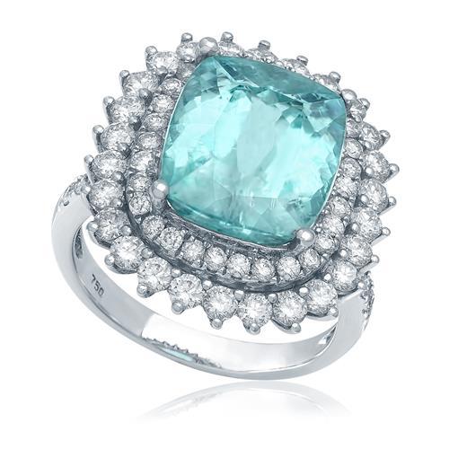 Anel com Diamantes Totalizando 1,90 Cts e Turmalina Paraíba de 5,96 Cts, em Ouro Branco