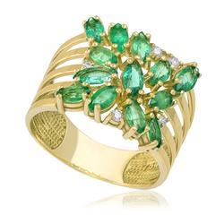 Anel com 5 Diamantes e Esmeraldas totalizando 2,48 Cts., em Ouro Amarelo