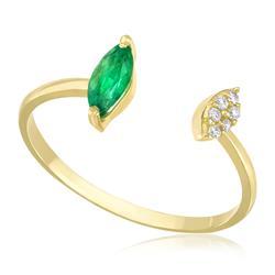 Anel Navetes com Esmeralda e Diamantes, em Ouro Amarelo