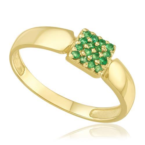 Anel com 16 Esmeraldas, em Ouro Amarelo