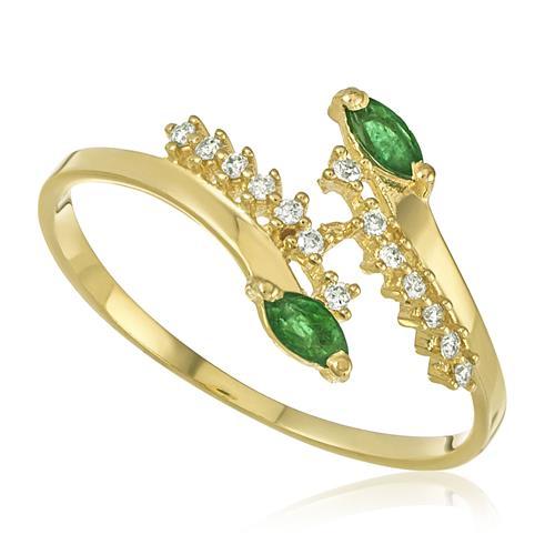 Anel com 2 Esmeraldas e 7 Pts em Diamantes, em Ouro Amarelo