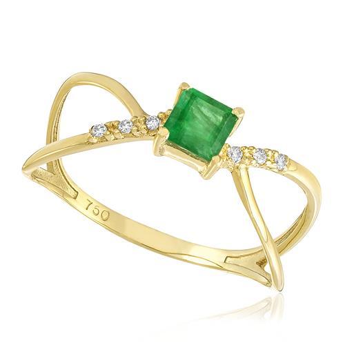 Anel Solitário com Esmeralda e 6 Diamantes. em Ouro Amarelo