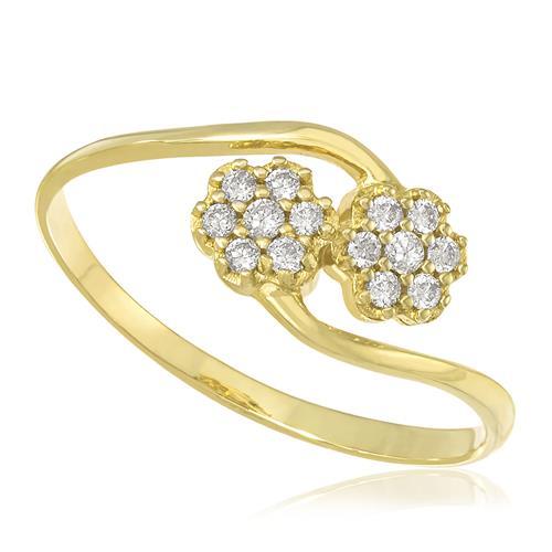 Anel Flores com 30 Pts em Diamantes, em Ouro Amarelo