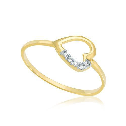 Anel de Falange modelo Coração com 5 Diamantes, em Ouro Amarelo