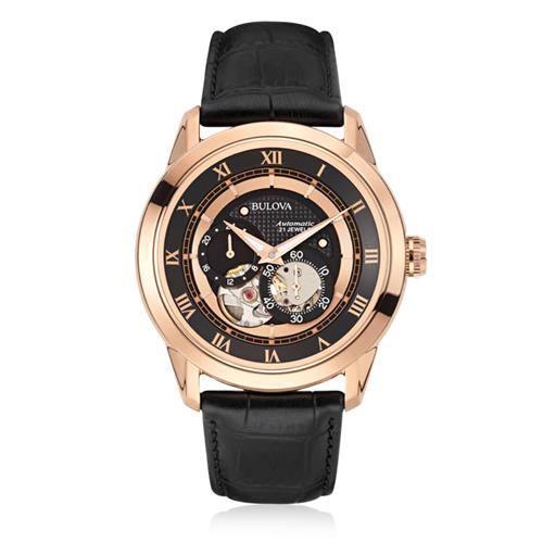 Relógio Masculino Bulova Automatic 21 Jewels WB21874P Aço Rose