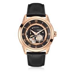 Relógio Masculino Bulova Automatic 21 Jewels WB21874P Aço Rose com Couro Preto