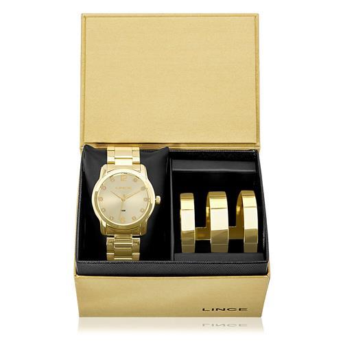 Relógio Lince Quartz LRG4391L K190 Dourado com Cristais