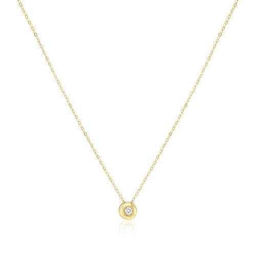 Ponto de luz com Diamante de 5 Pts, em Ouro Amarelo