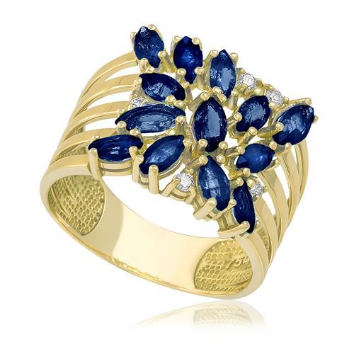 Anel Trabalhado com 5 Diamantes e Safiras totalizando 3,43 Cts, em Ouro Amarelo
