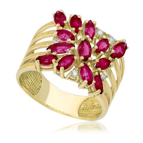Anel com 5 Diamantes e Rubis totalizando 3 Cts, em Ouro Amarelo