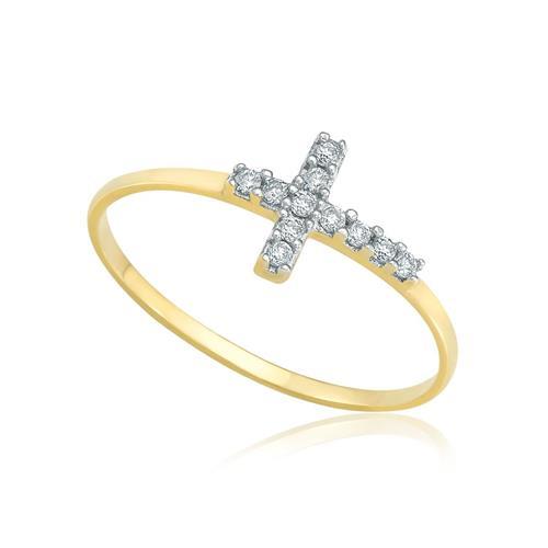 Anel de Falange Cruz com Diamantes totalizando 6 pts., em Ouro Amarelo