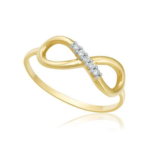 Anel de Falange Infinito com Diamantes totalizando 3 pts., em Ouro Amarelo