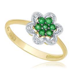 Anel com 6 Diamantes e 7 Esmeraldas totalizando 21 pts., em Ouro Amarelo