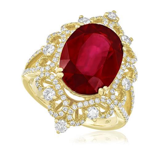 Anel com Diamantes totalizando 1,40 Cts. e Rubi de 9,58 Cts., em Ouro Amarelo