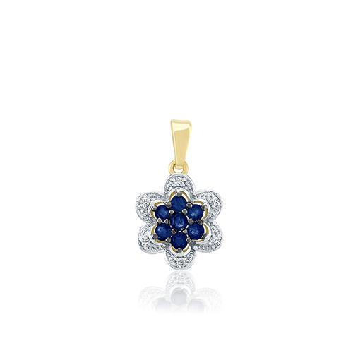Pingente Flor com 7 Safiras e 6 Diamantes, em Ouro Amarelo 42149