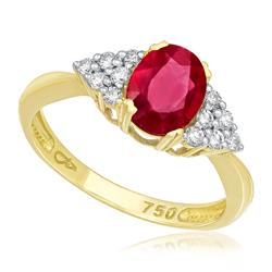 Anel com 12 Diamantes e Rubi Oval de 1,2 Cts., em Ouro Amarelo