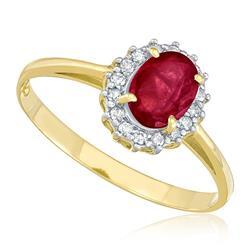 Anel com 16 Diamantes e Rubi Oval de 1,13 Cts., em Ouro Amarelo