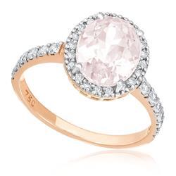 Anel com 32 Diamantes e Morganita de 1,9 Cts., em Ouro Rose