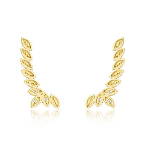 Par de Brincos Folhas com 6 Diamantes, em Ouro Amarelo