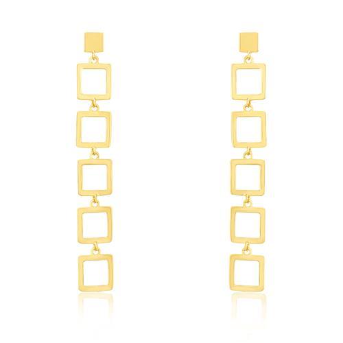 Par de Brincos Quadrados Vazados, em Ouro Amarelo