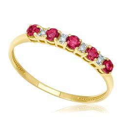 Meia Aliança com 5 Rubis e 4 Diamantes, em Ouro Amarelo
