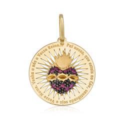 Pingente Sagrado Coração com 11 Rubis, em Ouro Amarelo