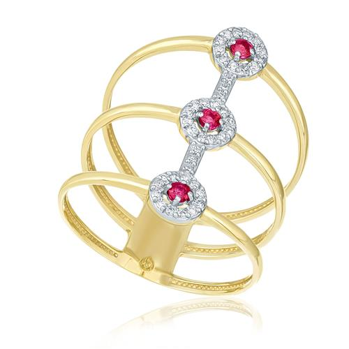 Anel Aro Triplo Largo com 3 Rubis e 36 Diamantes, em Ouro Amarelo