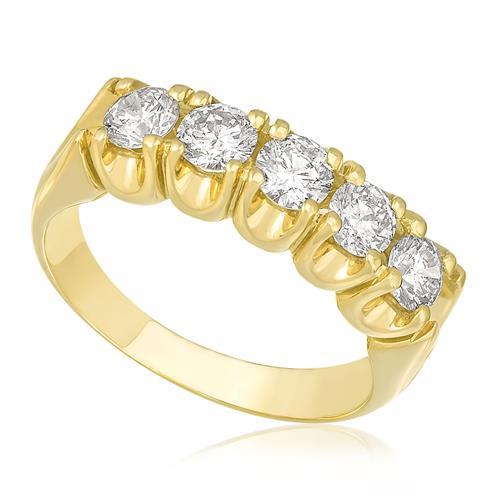 Meia Aliança com 5 Diamantes totalizando 1,1 Cts, em Ouro Amarelo