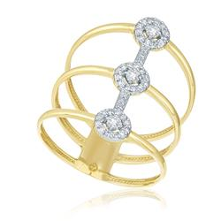 Anel Aro Triplo com 3 Diamantes Centrais e 36 Diamantes, em Ouro Amarelo