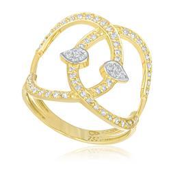 Anel Estilo Estilizado com 62 Diamantes, em Ouro Amarelo