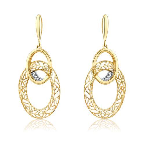 Par de Brincos Argolas Ovais Vazadas com 6 Diamantes, em Ouro Amarelo