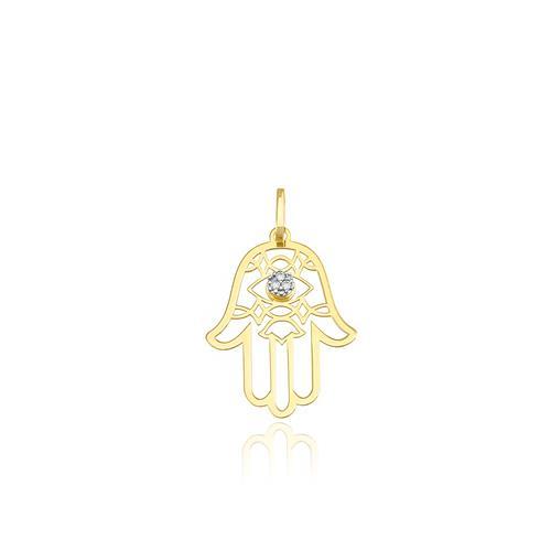 Pingente Hamsa com 3 Diamantes, em Ouro Amarelo