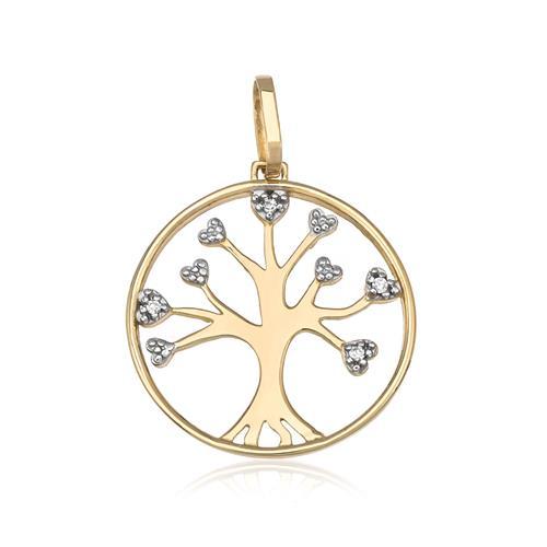 Pingente Árvore da Vida com 4 Diamantes, em Ouro Amarelo