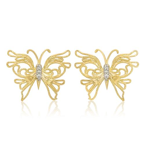 Par de Brincos Borboletas com 6 Diamantes, em Ouro Amarelo