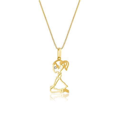 Pingente Menina com Diamante, em Ouro Amarelo