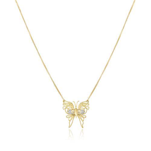 Colar com Pingente Borboleta com 6 Diamantes, em Ouro Amarelo