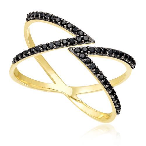 Anel X com Aro Aberto e Diamantes Negros, em Ouro Amarelo