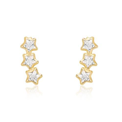 Par de Brincos Estrelas com Zircônias, em Ouro Amarelo