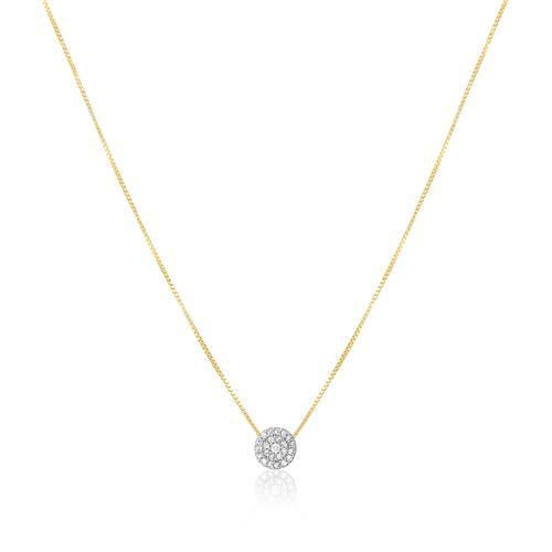 Colar com Pingente Chuveiro com 24 Diamantes, em Ouro Amarelo
