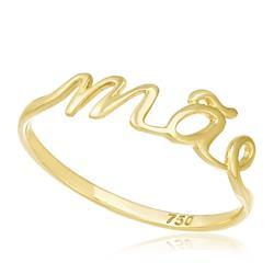 Anel com escrita ''Mãe'' trabalhado em Ouro Amarelo